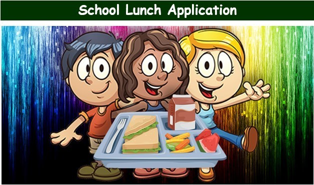 School Lunch Application.  Students with tray