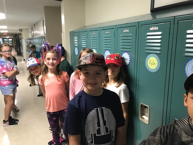 Hat Day on display in the hallway